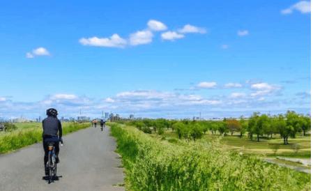 田圃道を自転車で走る男性